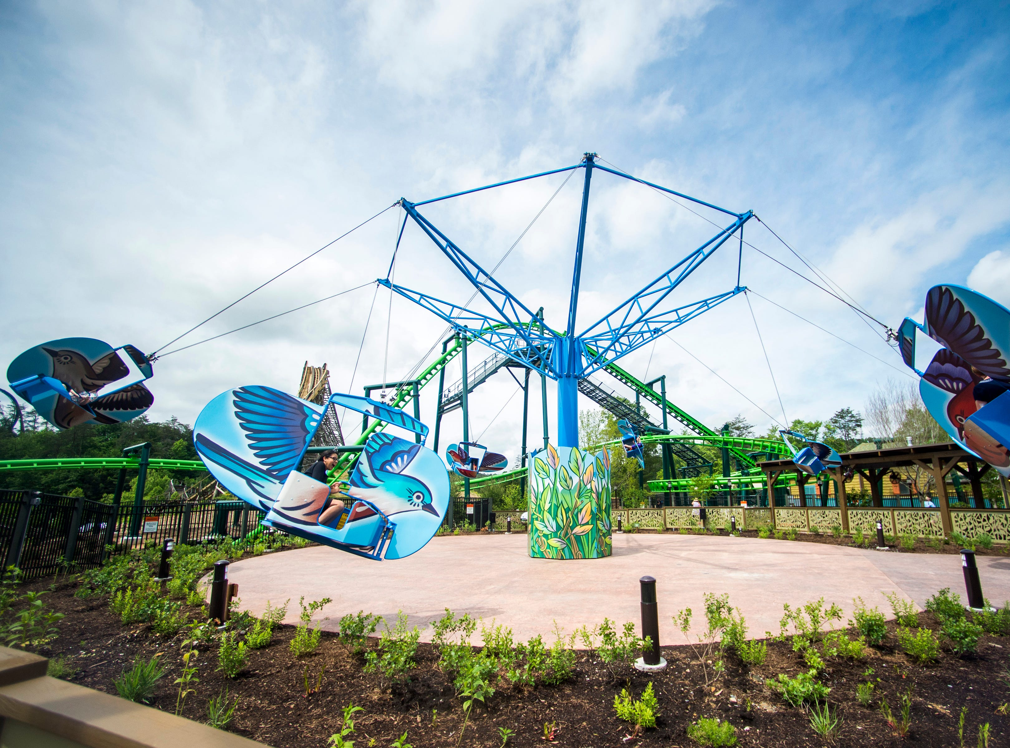 The Mad Mockingbird ride during the grand opening of Dollywood's new Wildwood Grove expansion on Friday, May 10, 2019.