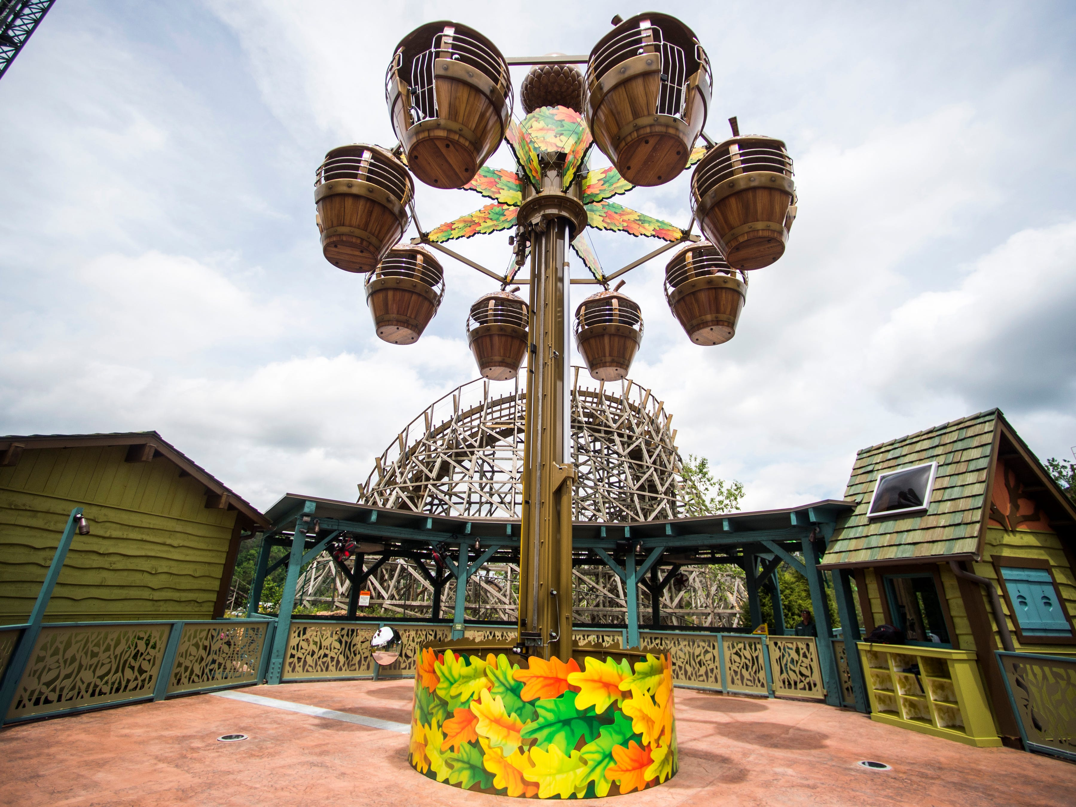 The Treetop Tower ride in Dollywood's new Wildwood Grove expansion on Friday, May 10, 2019.