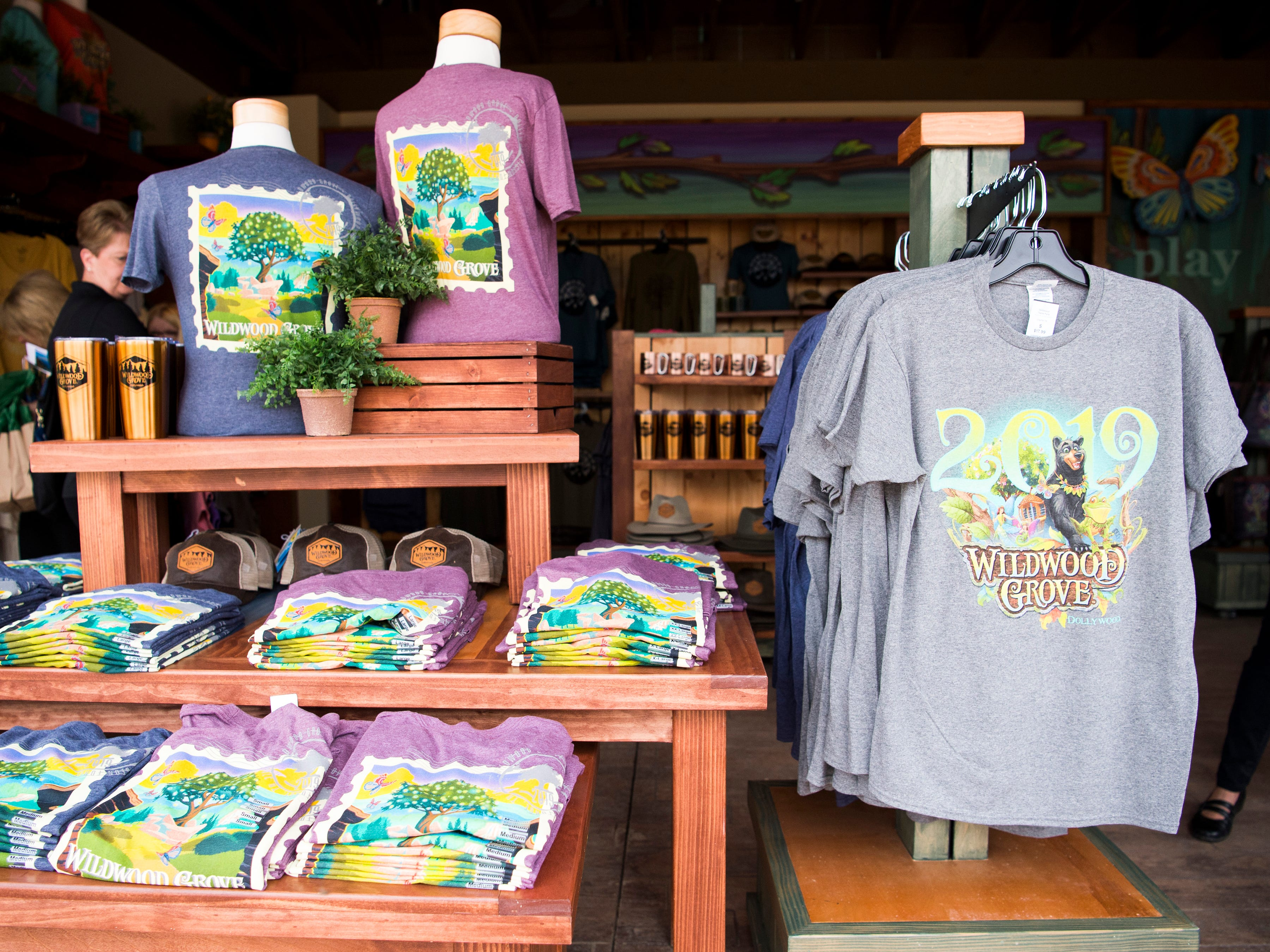 Merchandise for sale at Dollywood's new Wildwood Grove expansion on Friday, May 10, 2019.