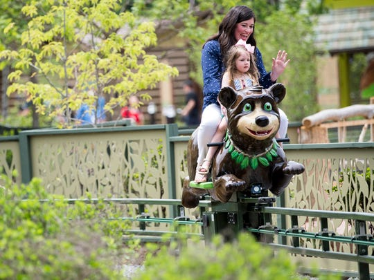 Guests enjoy the Black Bear Trail ride during the grand opening of Dollywood's new Wildwood Grove expansion on Friday, May 10, 2019.