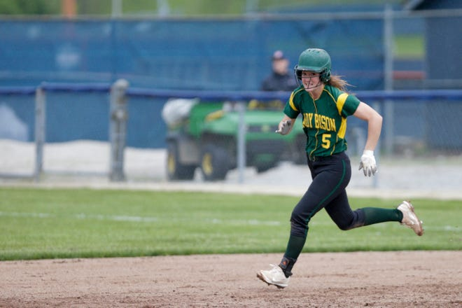 Benton Central second baseman Lexi Tompkins (5) runs towards second during the fifth inning of a high school softball game, Thursday, May 9, 2019, at Harrison High School in West Lafayette. Harrison won, 6-5.