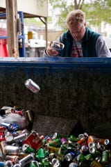 Arnold Newman sorts his recycling at the West Lafayette recycling center, Friday, May 10, 2019, in West Lafayette. The center was first opened in 1970's and has evolved over the years to include recycling for cooking and motor oils, food waste and other household recycling items.