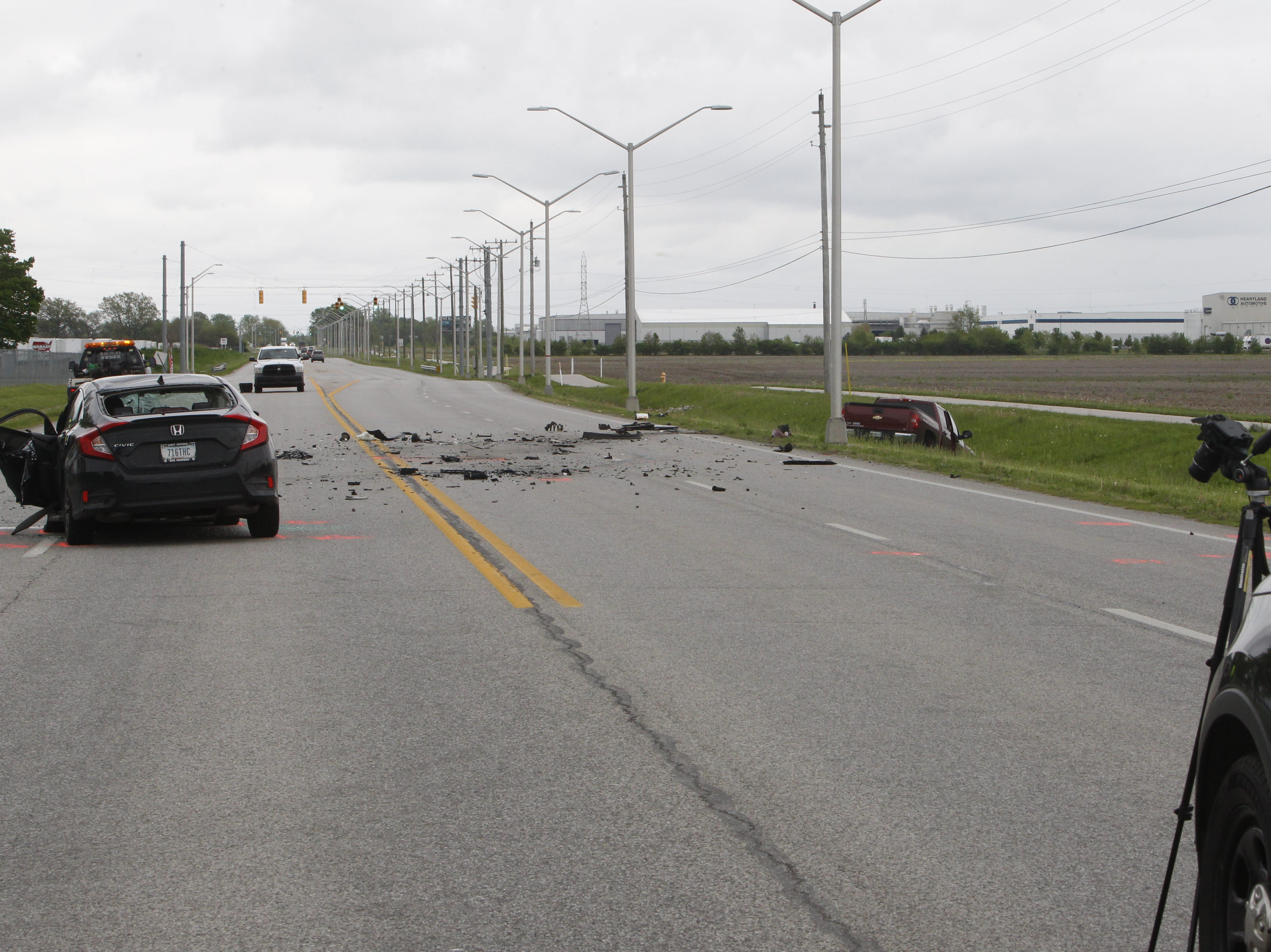 Two drivers were injured in a Friday morning crash on Veterans Memorial Parkway between Concord Road and U.S. 52.