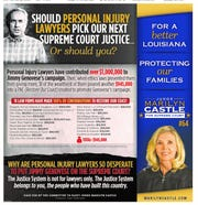 A 2016 campaign advertisement by Judge Marilyn Castle that ran on Nov. 6, 2016, in the Daily Advertiser. The ad lists Broussard & David among law firms who contributed to a PAC for her opponent.