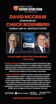 Kentucky Author Forum presents David McCraw, interviewed by Chuck Rosenberg, May 14 at the Kentucky Center.