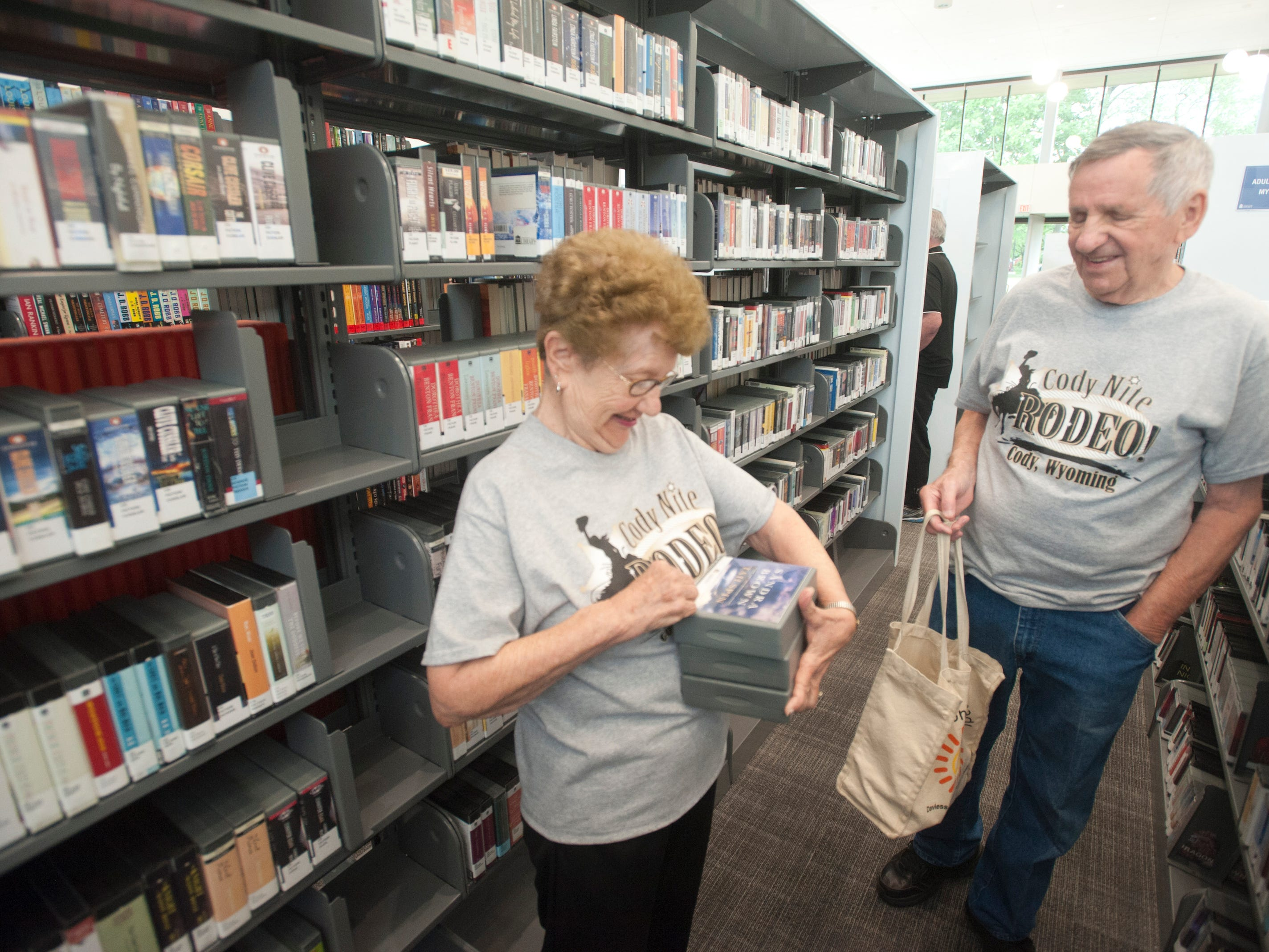 Bonnie and David Montgomery of Windy Hills, who have been married for 62 years, stopped into the library for some audio books. May 9, 2019