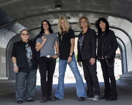 Pictured left to right: Garry Peterson, Will Evankovich, Derek Sharp, Leonard Shaw, and Rudy Sarzo with The Guess Who.
