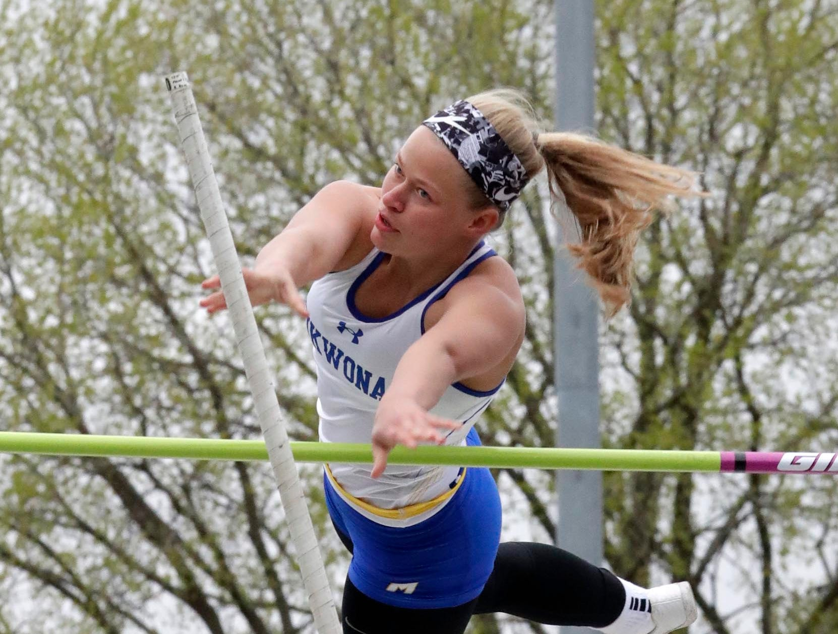 Mukwonago senior Taylor Christensen clears 10-6 to finish second in the girls pole vault during the Classic 8 Conference track and field meet on Thursday, May 9, in Oconomowoc.