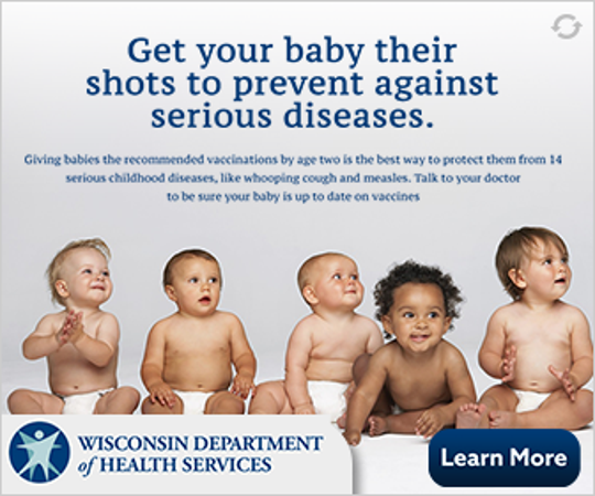 One of the online ads the Wisconsin Department of Health Services plans to run as part of its campaign promoting vaccines to new parents.