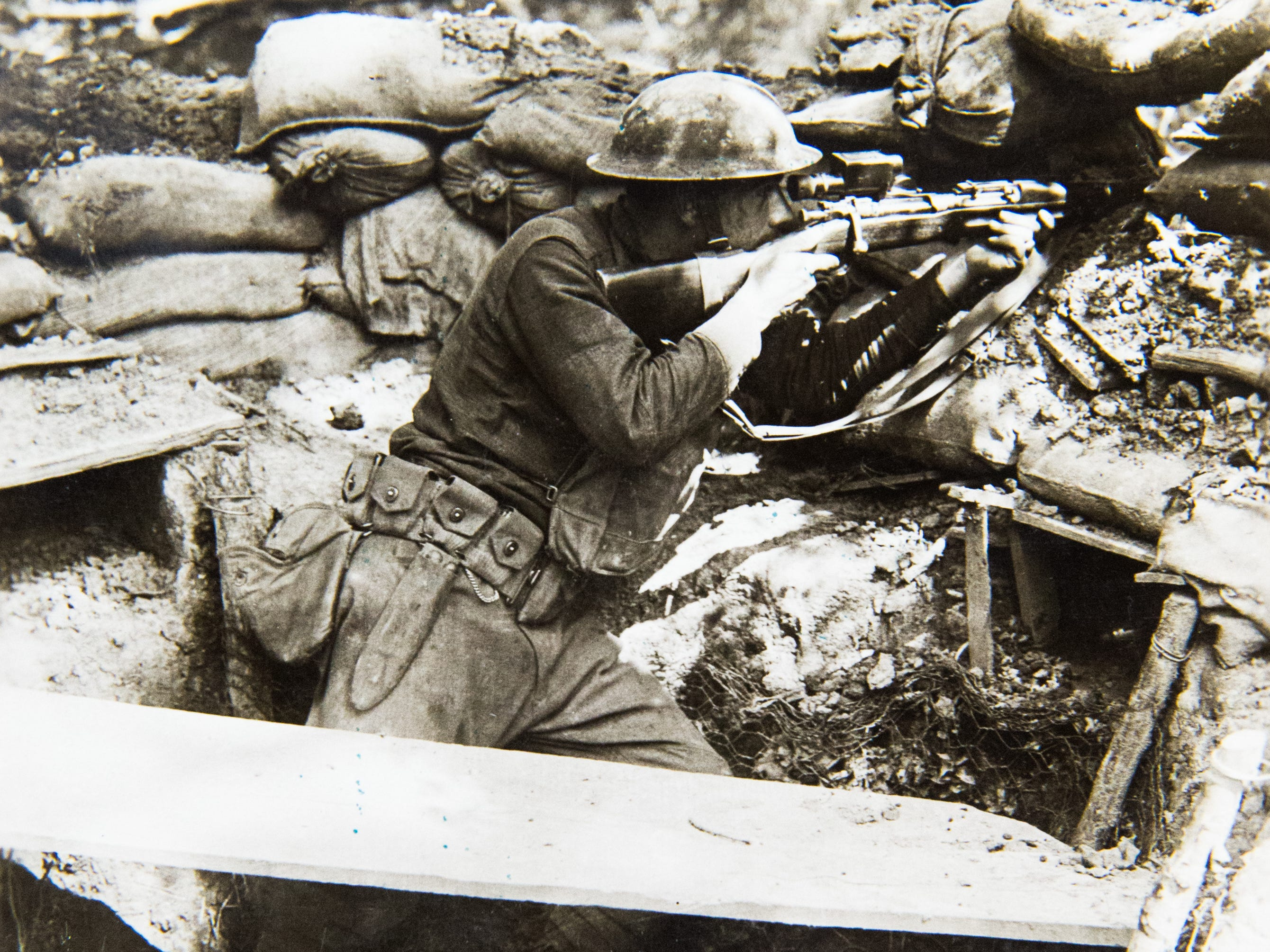 Pvt. Leo R. Hahn, Intelligence Dept. 127th Infantry sniper. In two days he has hit two German snipers. He is the champion marksman of the 127th Infantry, Co. L, 127th Infantry. Photo taken June 27, 1918, Benhols, Alsace, Germany.