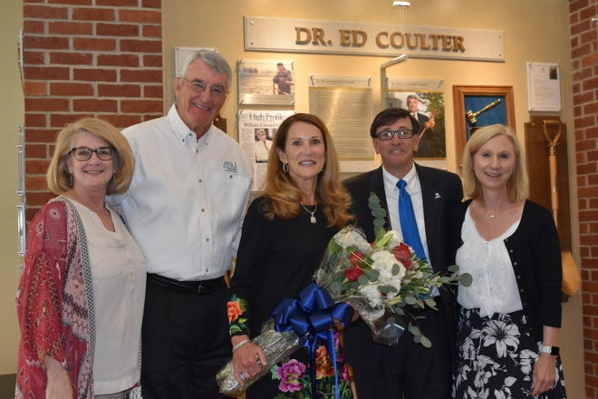 Christy Keirn, Director of Communications and Institutional Advancement at ASU-MH; Dr. Ed Coulter, Chancellor Emeritus at ASU-MH; Lucretia Coulter; Dr. Robin Myers, Chancellor of ASU-MH; and Mollie Morgan, Development Officer at ASU-MH pose for a photo following the Coulters' gift of stock to to establish the Ed and Lucretia Coulter Performing Arts Endowment.