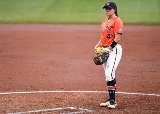 Auburn softball right-handed pitcher Ashlee Swindle stands in the pitching circle.