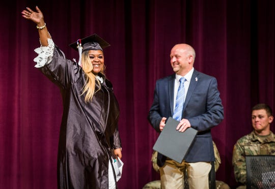Graduates of the Muncie Community Schools Adult Education Program received their high school diplomas during a ceremony at Central Thursday, May 9, 2019.