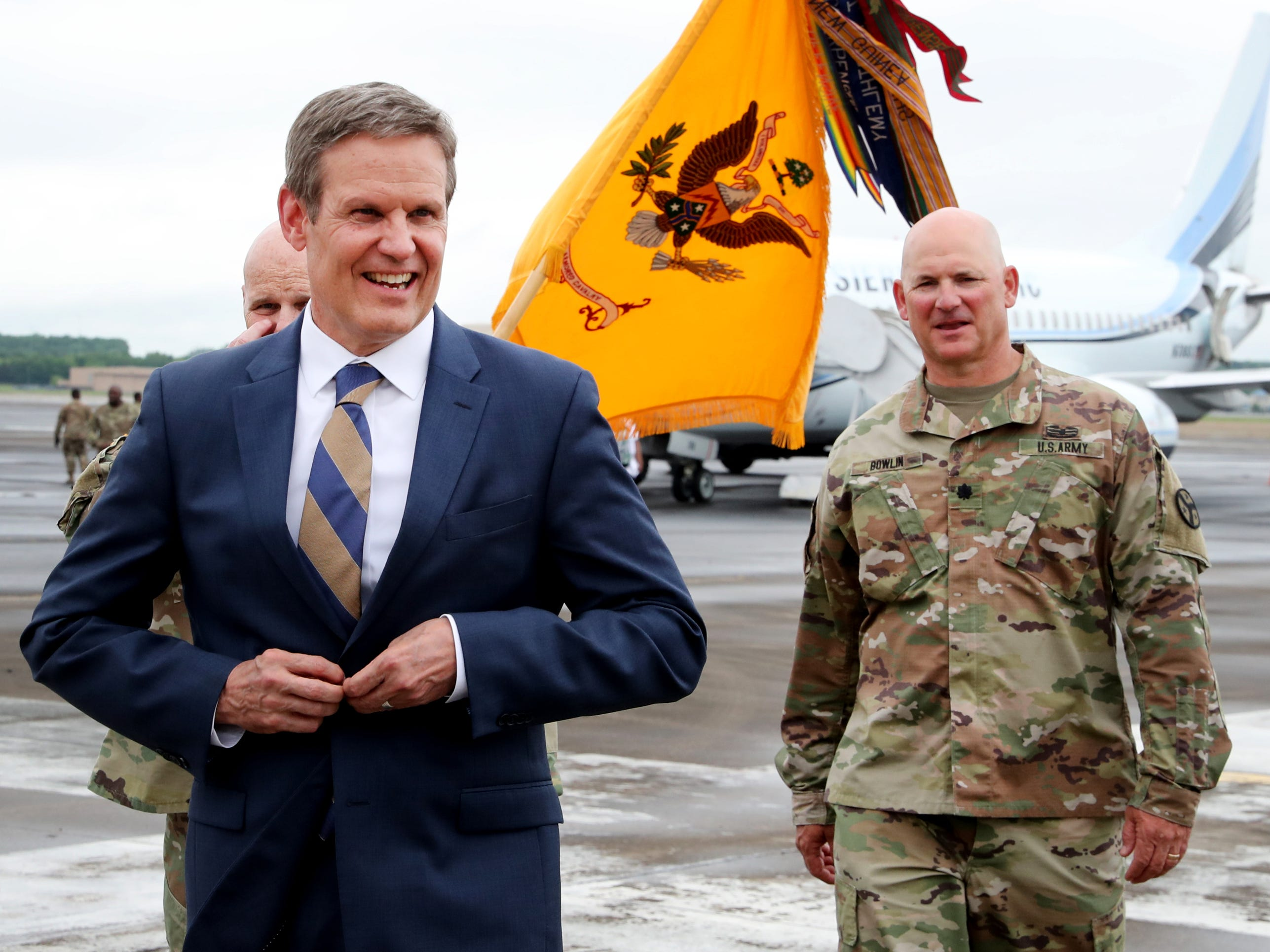 Tennessee Governor Bill Lee welcomed the returning troops with the 278th ACR home from a 9 month overseas deployment  to the Volunteer Training Site in Smyrna on Thursday, May 9, 2019.