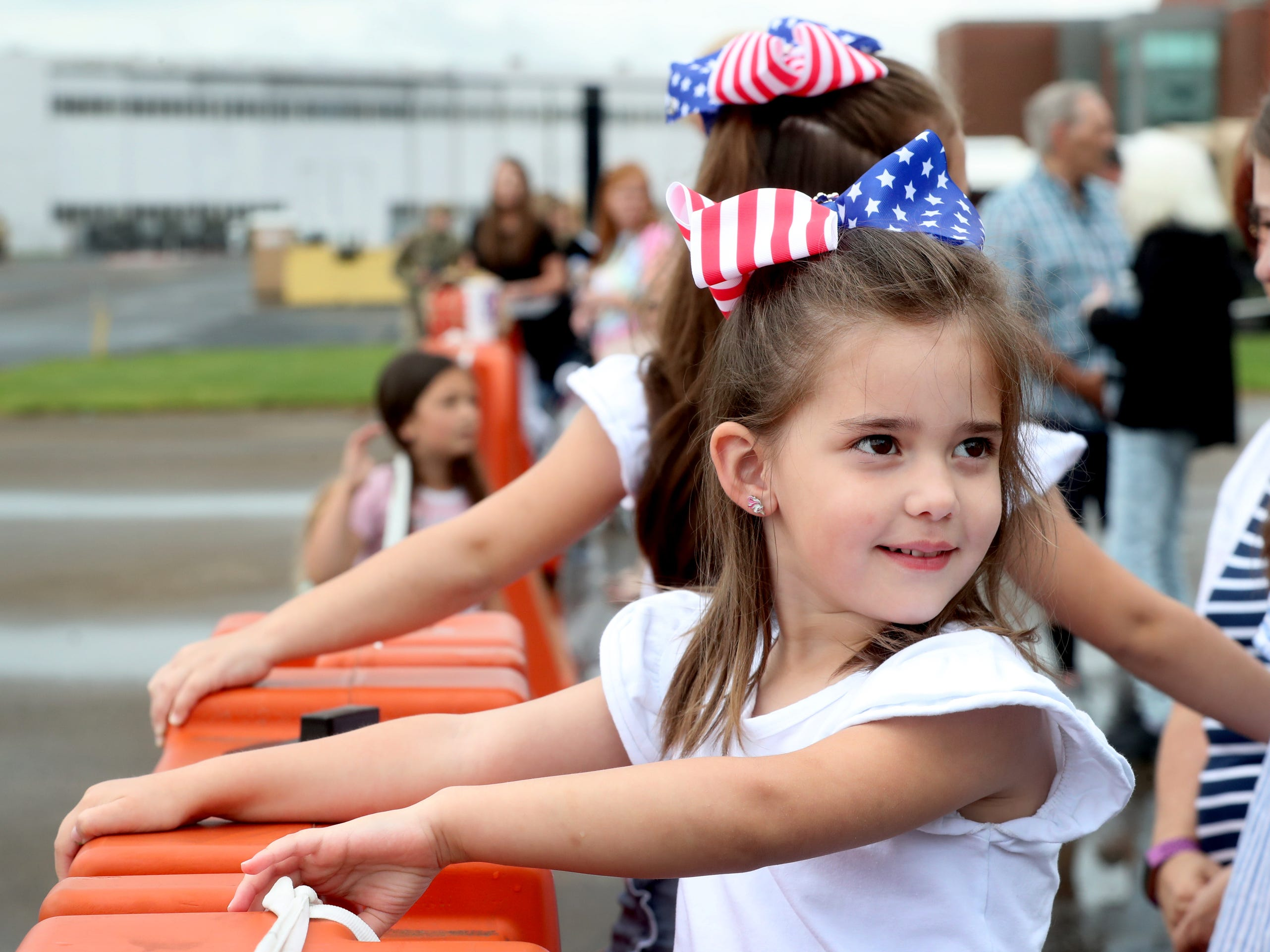 Harper Fleming, 4, waits for her dad Staff Sgt. Kyle Fleming with the 278th ACR, to return to the Volunteer Training Site in Smyrna, from a 9 month overseas deployment on Thursday, May 9, 2019.