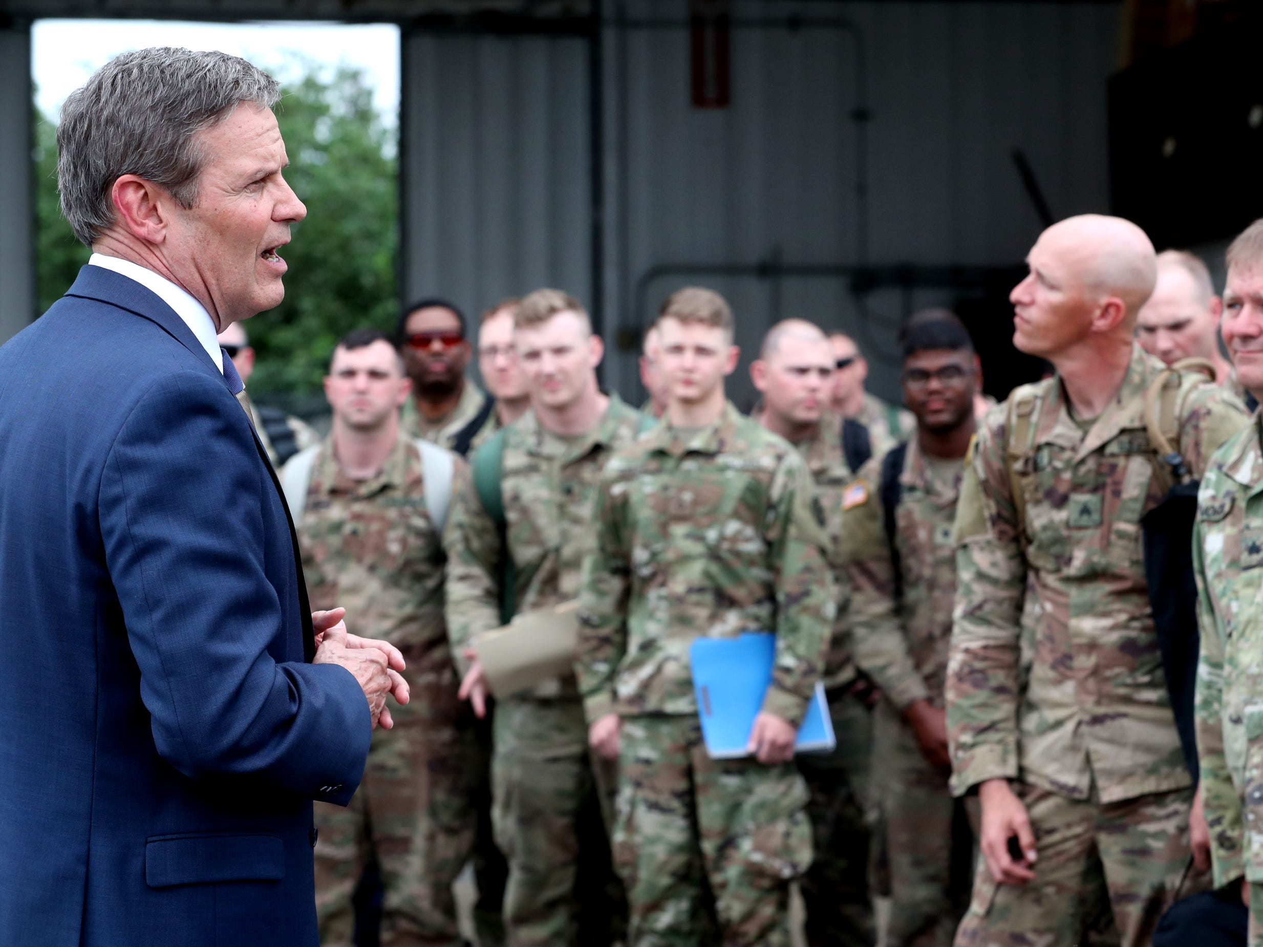 Tennessee Governor Bill Lee welcomed home the returning troops with the 278th ACR from a 9 month overseas deployment  to the Volunteer Training Site in Smyrna on Thursday, May 9, 2019.