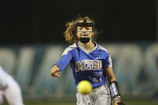 MTSU freshman Gretchen Mead fires a pitch during the Lady Raiders semifinals matchup against Louisiana Tech.