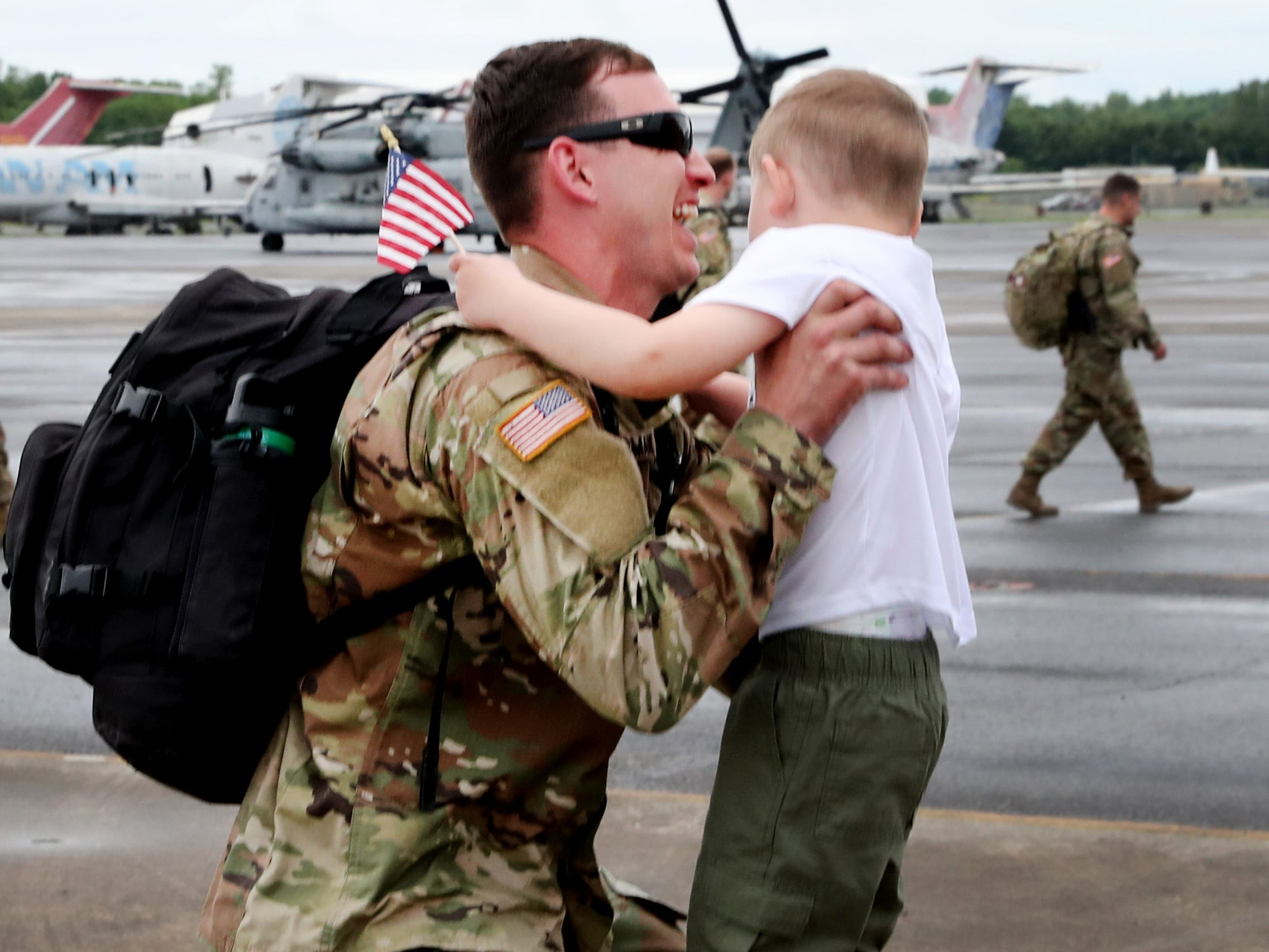 Camden Chipman, 3 gets picked up by his dad  Sgt. Cody Chipman, with the 278th ACR after he gets off the plane at the Volunteer Training Site in Smyrna, from a 9 month overseas deployment on Thursday, May 9, 2019.