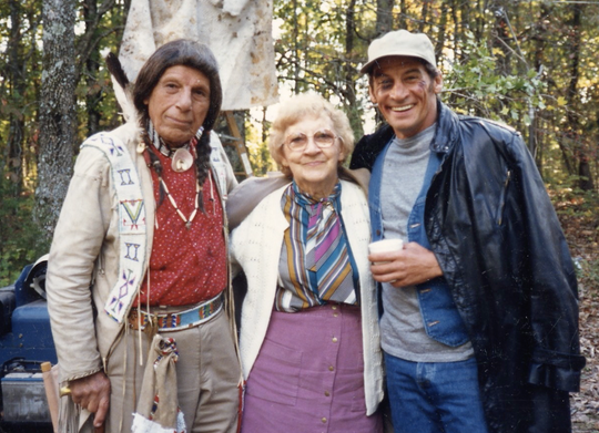Pictured are, right, Jim Varney, playing Ernest P. Worrell, and, left, actor Iron Eyes Cody, playing Chief St. Cloud.