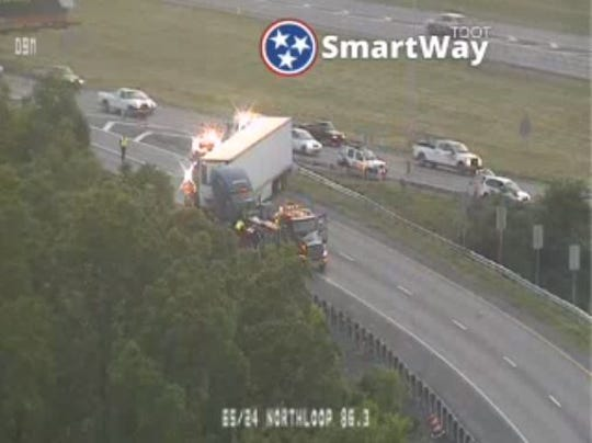 A crash involving a semi is blocking the southbound I-65 on ramp off I-24 just north of downtown Nashville Friday, May 10, 2019.