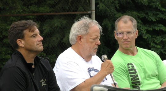 "John Cherry III talks to the audience at the second Ernest Day at Montgomery Bell State Park alongside previous ""Ernest Goes to Camp"" cast members in 2018."