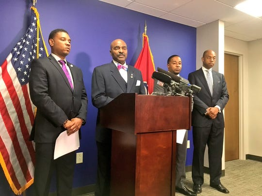Rep. G.A. Hardaway speaks during a Tennessee Black Caucus press conference May 10, 2019.