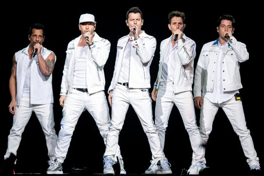 The New Kids on the Block perform at Bridgestone Arena in Nashville, Tenn., Thursday, May 9, 2019.
