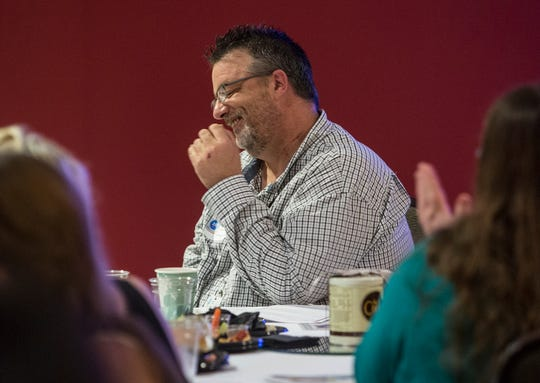 Steve Carpenter reacts as he is announced the winner of the Constellation Award from the Licking County Board of Developmental Disabilities. Carpenter is the program coordinator at Consumer Support Services.