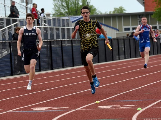 Watkins Memorial senior Bradley Kussmaul runs the anchor leg of the 800 relay May 9 during the Licking County League-Buckeye Division championships at Lakewood. Watkins won the event.