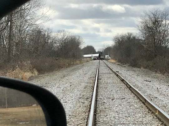 A truck gets stuck crossing the Thornwood Drive railroad tracks near the Heath-Newark line in January 2018.