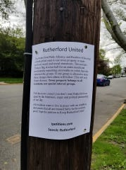 A flyer advertising a petition opposing the raising of the rainbow LGBTQ flag at Borough Hall in Rutherford.