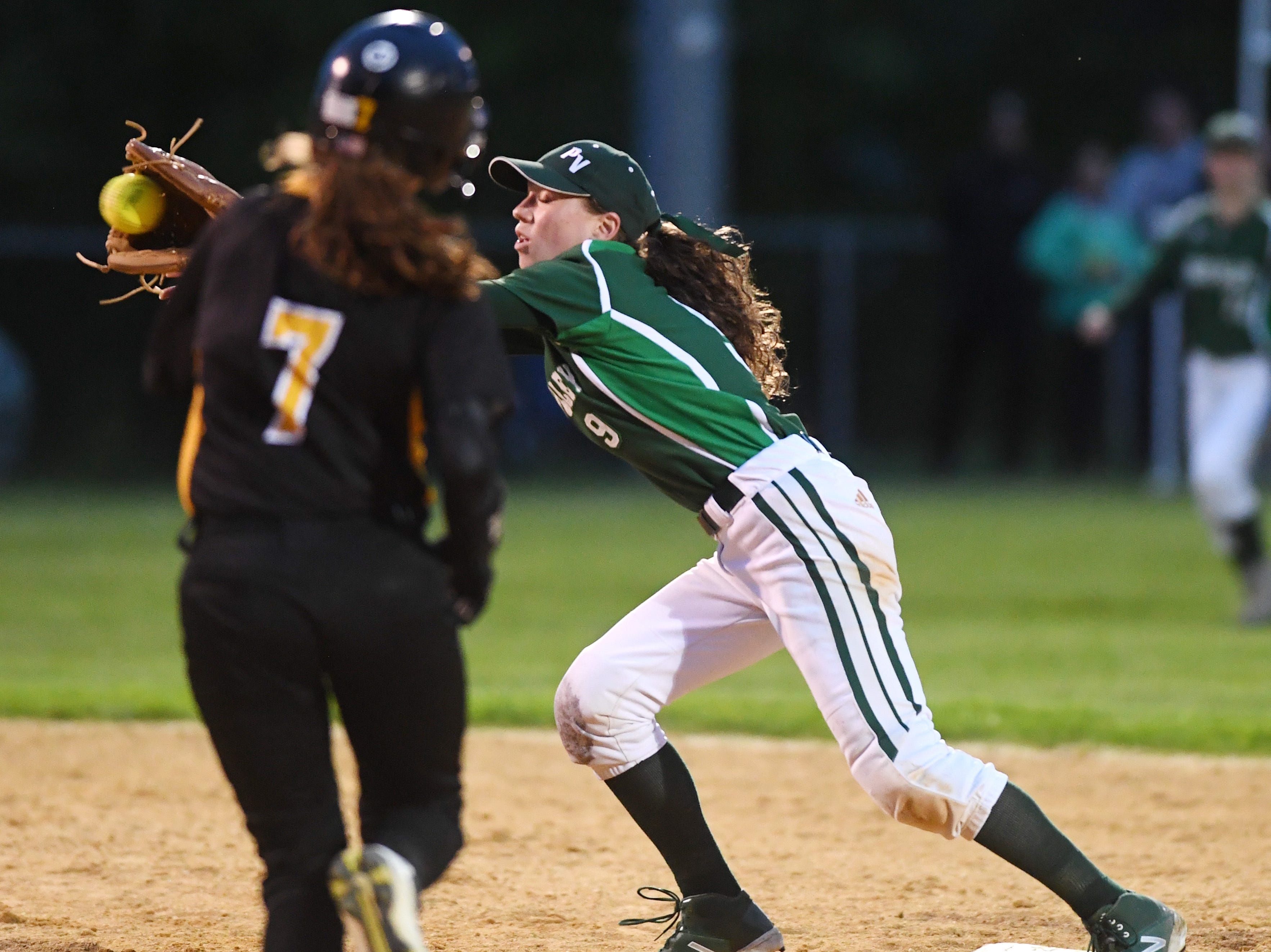 West Milford vs. Passaic Valley in the Passaic County Softball Tournament semifinals in West Milford on Thursday, May 9, 2019. PV #9 Taylor Hill gets the out at second.