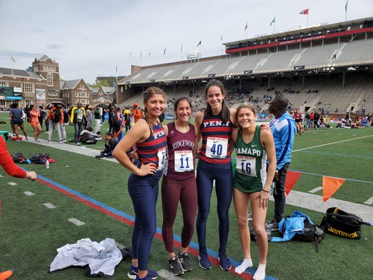 Left to right: Haley Rizek of Penn, Katherine Muccio of Ridgewood, Ellen Byrnes of Penn, Grace O'Shea of Ramapo, photographed at the Penn Relays.