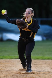 West Milford vs. Passaic Valley in the Passaic County Softball Tournament semifinals in West Milford on Thursday, May 9, 2019. WM #7 Amanda Gerold throws to first to get the out.