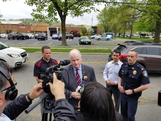 Morris County Sheriff James M. Gannon, Denville Police Capt. Jeff Tucker and Morris County School of Technology Superintendent Scott Moffitt addressing a threat on Friday morning.