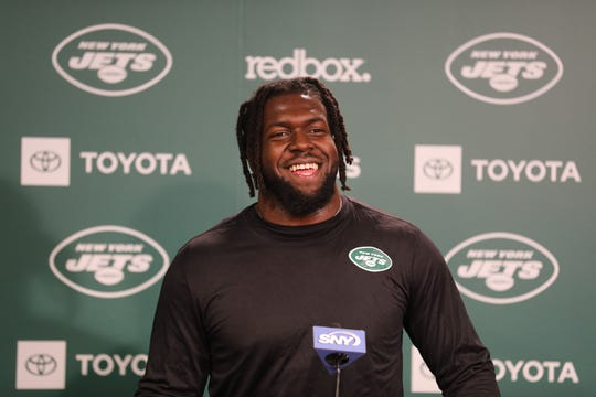 Outside linebacker Jachai Polite was the Jets second pick, a third rounder from Florida waits to be introduced.