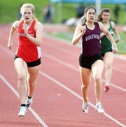 """Gene """"Red"""" Littler Bergen County Meet at Northern Valley Old Tappan on Friday, May 10, 2019. (right) Katherine Muccio, of Ridgewood, and Grace Smiechowski, of Northern Highlands, in the 400 M."""