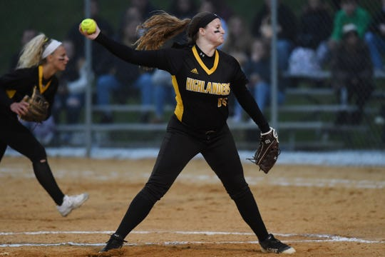 West Milford vs. Passaic Valley in the Passaic County Softball Tournament semifinals in West Milford on Thursday, May 9, 2019. WM pitcher #10 Jess Perucki.