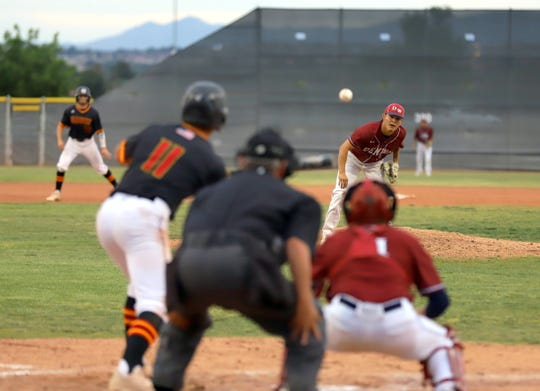 Junior Wildcat right-hander Fernie Munoz makes his delivery to the plate during Thursday's Class 5A State Playoff Series against the Centennial Hawks at the Field of Dreams in Las Cruces, NM. Munoz and the 'Cats lost 10-0.