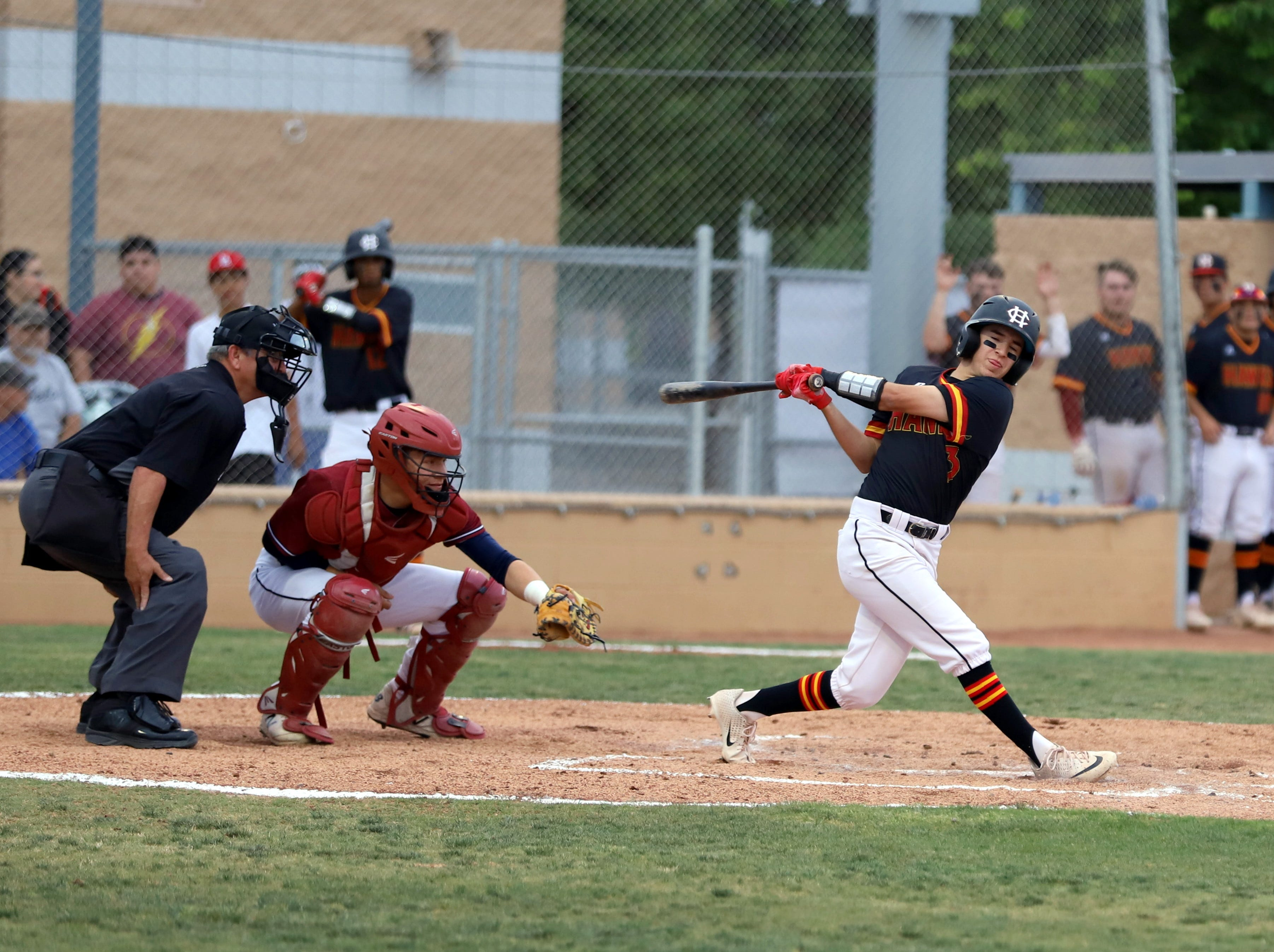 Centennial lead-off batter Dominic Tellez drove home the first two Hawks' runs with a sharp single in the second inning.