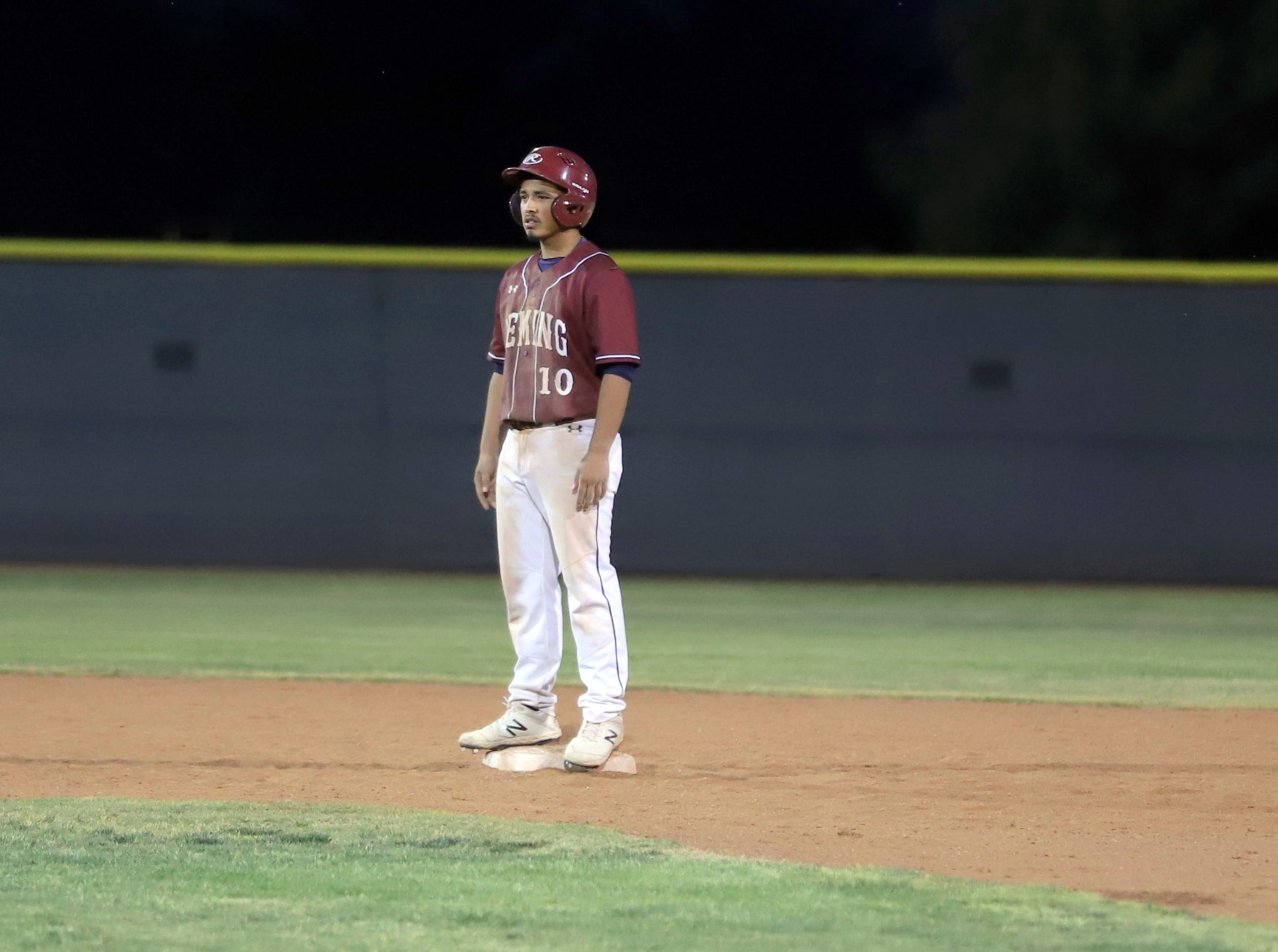 Junior Wildcat designated hitter James Palomarez stood at second base in the fourth inning and actually made it to third base.