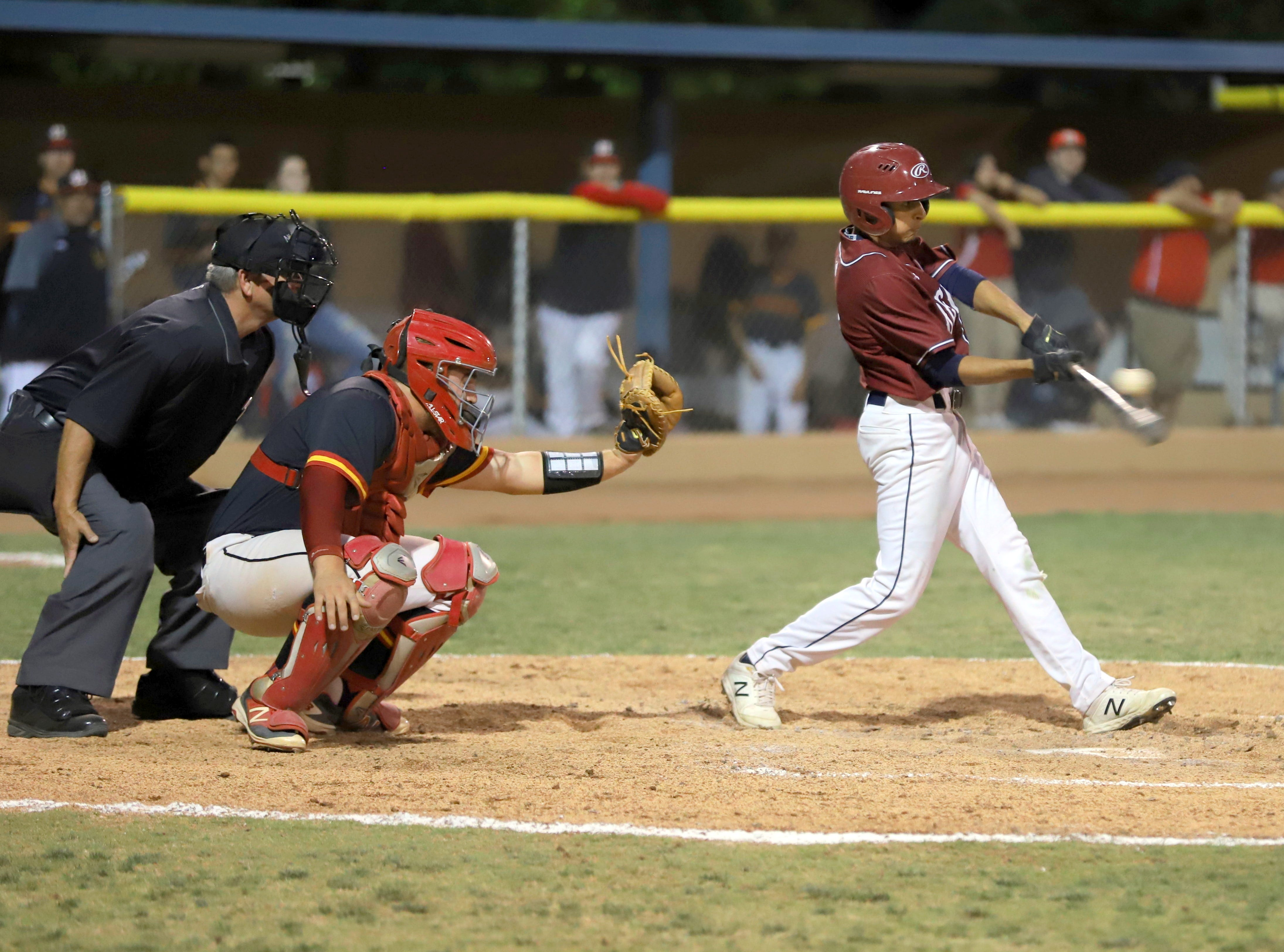 Wildcat junior Isaiah Chavez takes a hack at a Wilson Bannister offering.