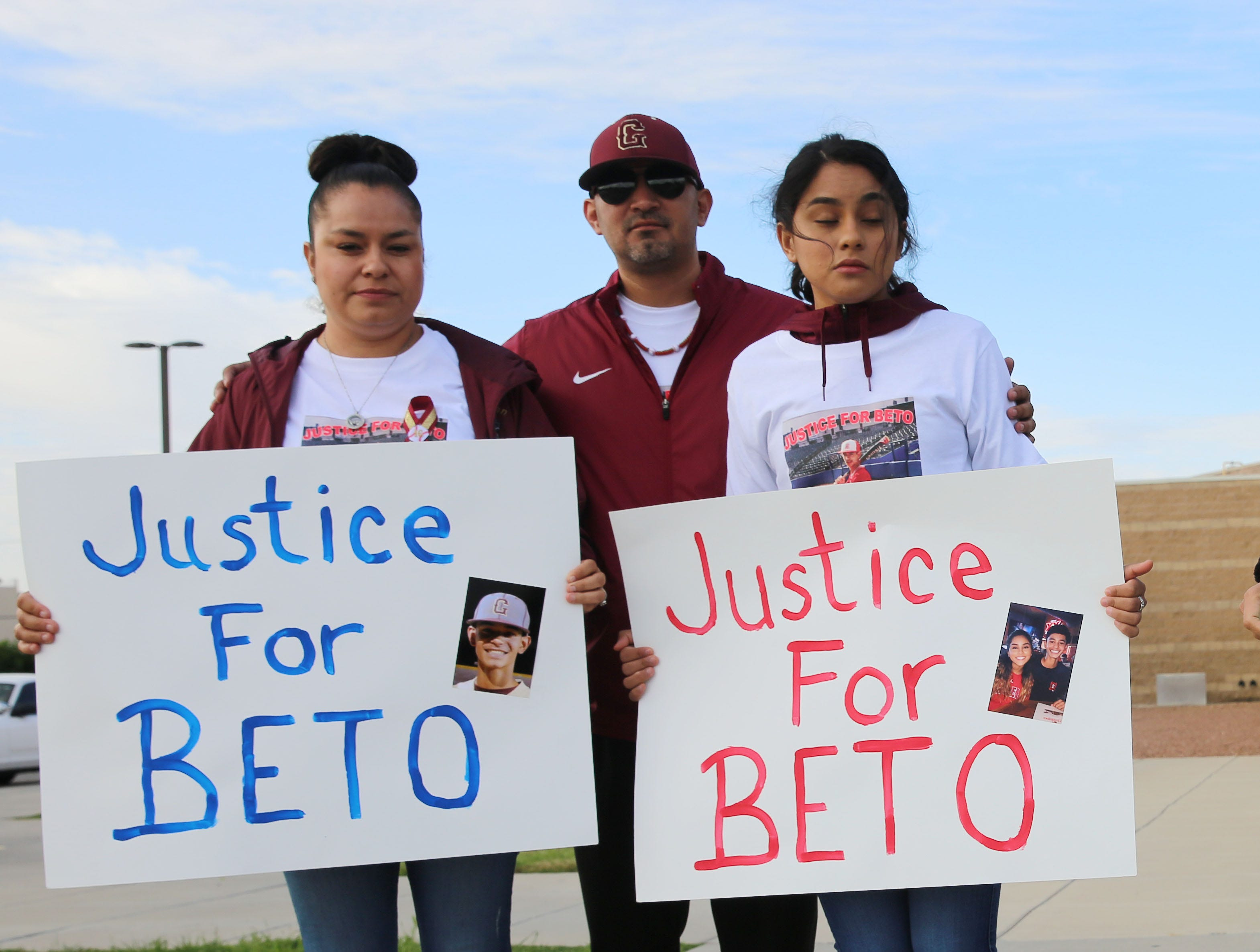 Denise and Beto Romero Sr., were surrounded by supporters Friday May 10, 2019, at the 3rd District Court in Las Cruces, where the man stand accused of killing their son, 16-year-old Beto Romero, in an April 3 hit-and-run accident, was appearing before a judge in an evidentiary hearing, that ultimately determined whether or not he would remain free until the trial. Judge Marci Beyer.