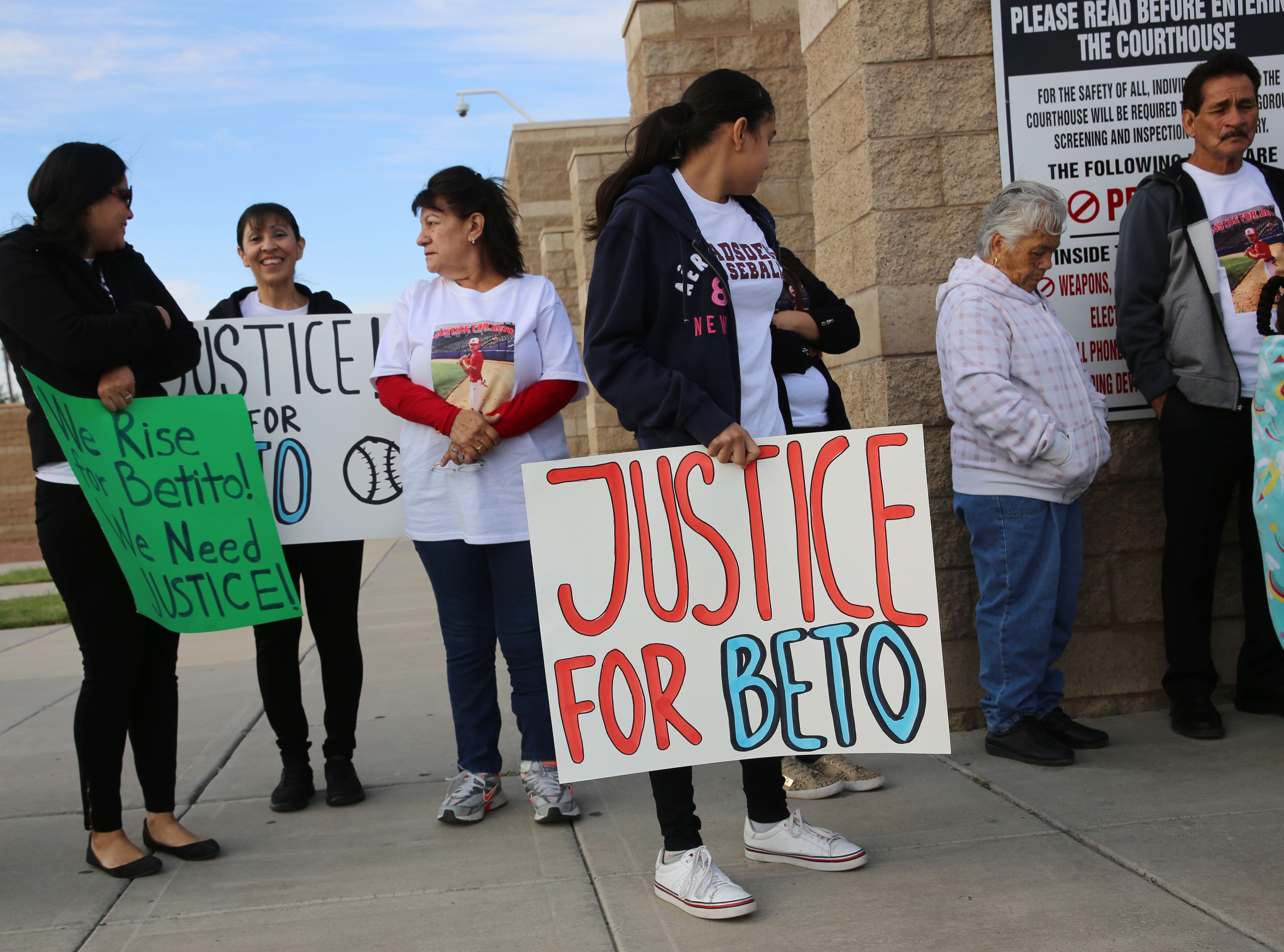 Family and friends of Beto Romero — who was killed in a hit-and-run crash on April 3 — stand outside the Doña Ana County district courtroom on Friday, May 10, 2019.