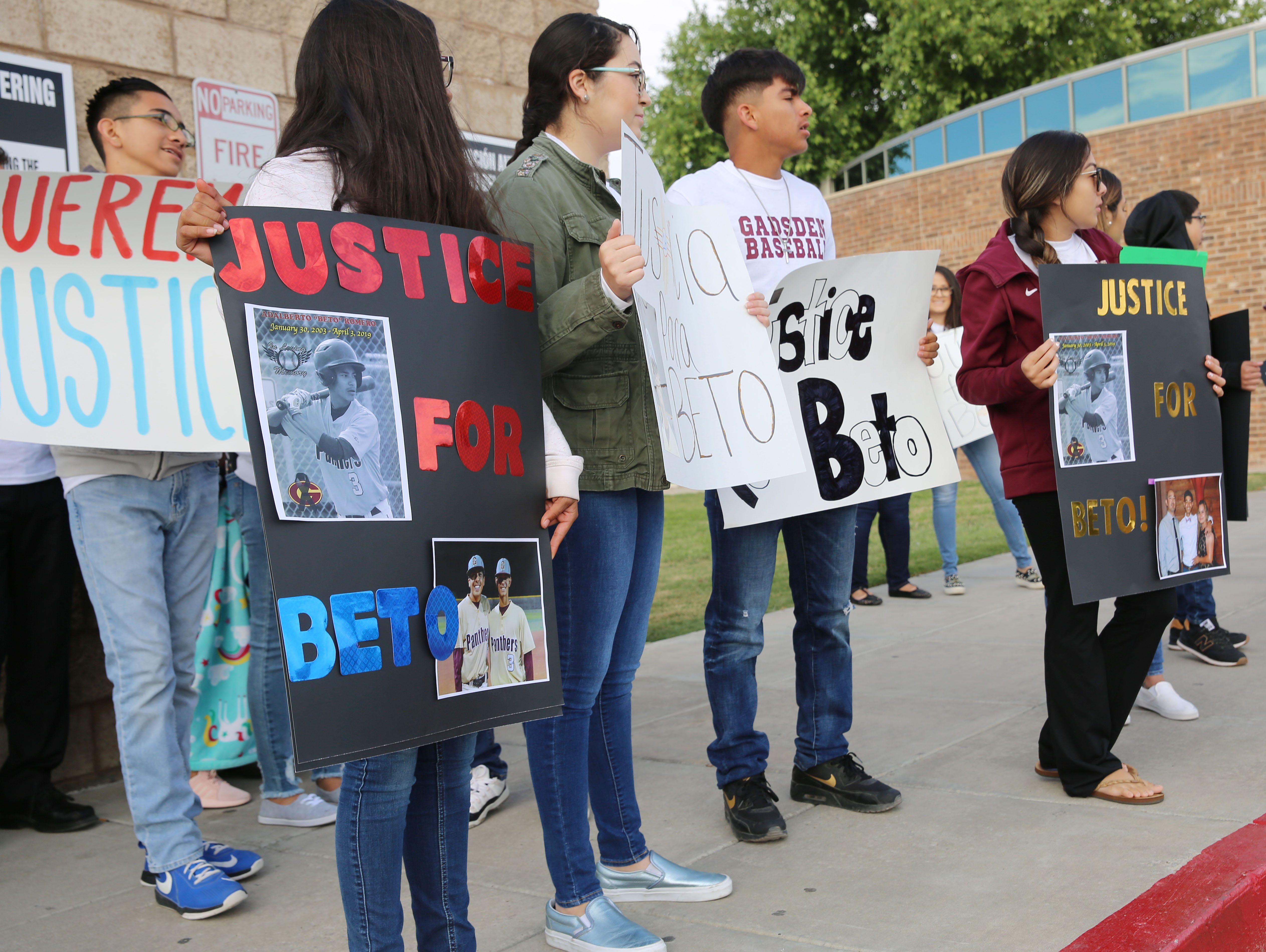Family, friends and community members gather at the 3rd Judicial District Courthouse Friday May 10, 2019, in Las Cruces, to support the family of Beto Romero, the 16-year-old Gadsden High School baseball player, who was killed outside of his house on April 3, in a hit-and-run accident. In a decision handed down by District Court Judge Marci Beyer, Oscar Ivan Anchondo, 21, who is accused of the crime, will remain incarcerated until the trial.