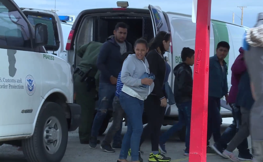In this still from a city of Las Cruces video clip, the U.S. Border Patrol is seen dropping off asylum-seeking migrants on Friday, May 10, 2019, at a bus station for a regional bus service, El Paso-Los Angeles Limousine Express Inc. The station is at 555 S. Valley Drive, Las Cruces.