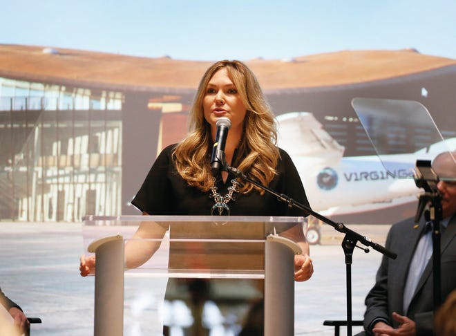 New Mexico Secretary of Economic Development Alicia Keyes speaks at Virgin Galactic's announcement in Santa Fe on Friday, May 10, 2019.