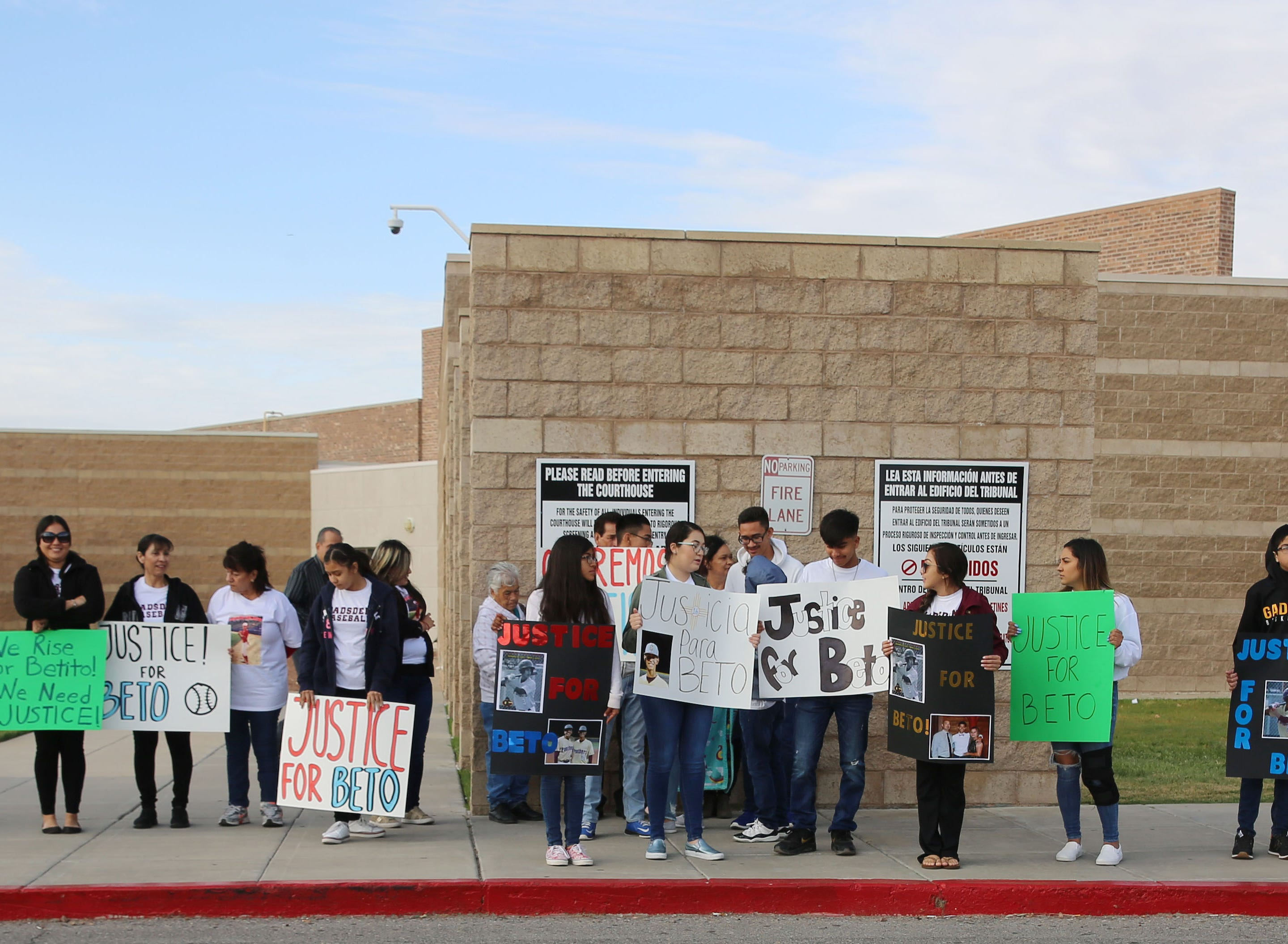 About 20 people stand outside 3rd Judicial Court Friday May 10, 2019, prior to a hearing that will jail Oscar Ivan Anchondo, 21, until his trial. Anchondo is accused of killing Beto Romero, 16, in an April 3, hit-and-run accident.