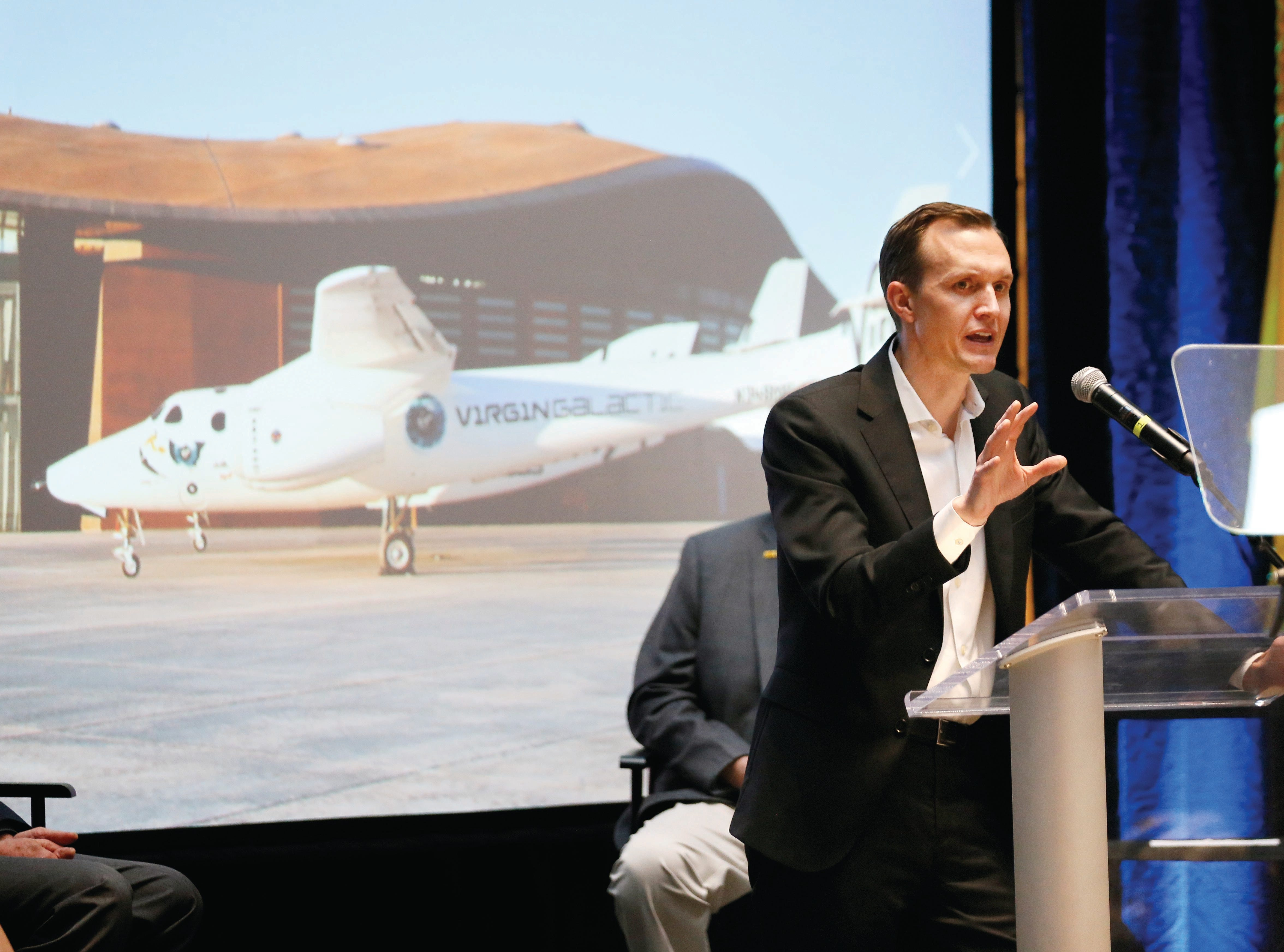 Virgin Galactic CEO George Whitesides speaks at the space company's announcement in Santa Fe on Friday, May 10, 2019.
