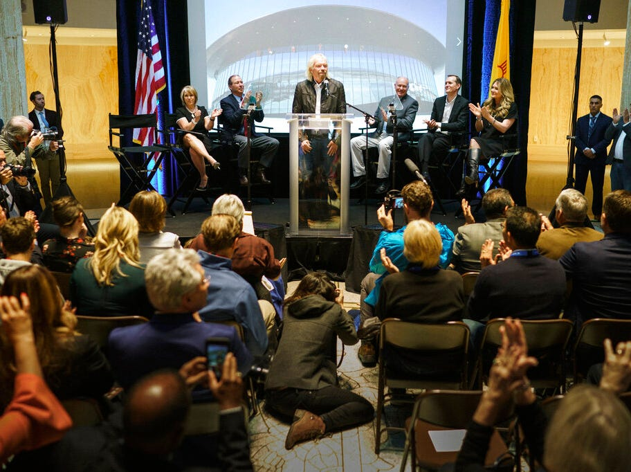 Virgin Galactic founder Sir Richard Branson announces the company's move to New Mexico as they near the first commercial flights from the Spaceport America Friday, May 10, 2019, at the state capital in Santa Fe, N.M.